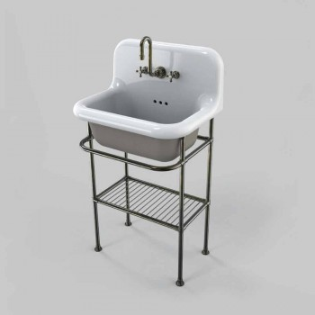 Wall-mounted ceramic washbasin with full grid structure Tom