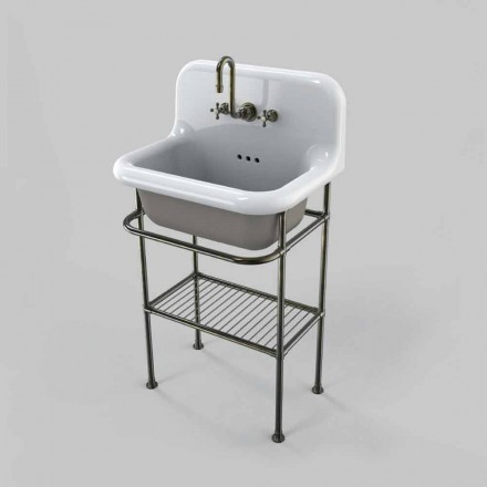 Wall-mounted ceramic washbasin with structure complete with vintage grill, Tom