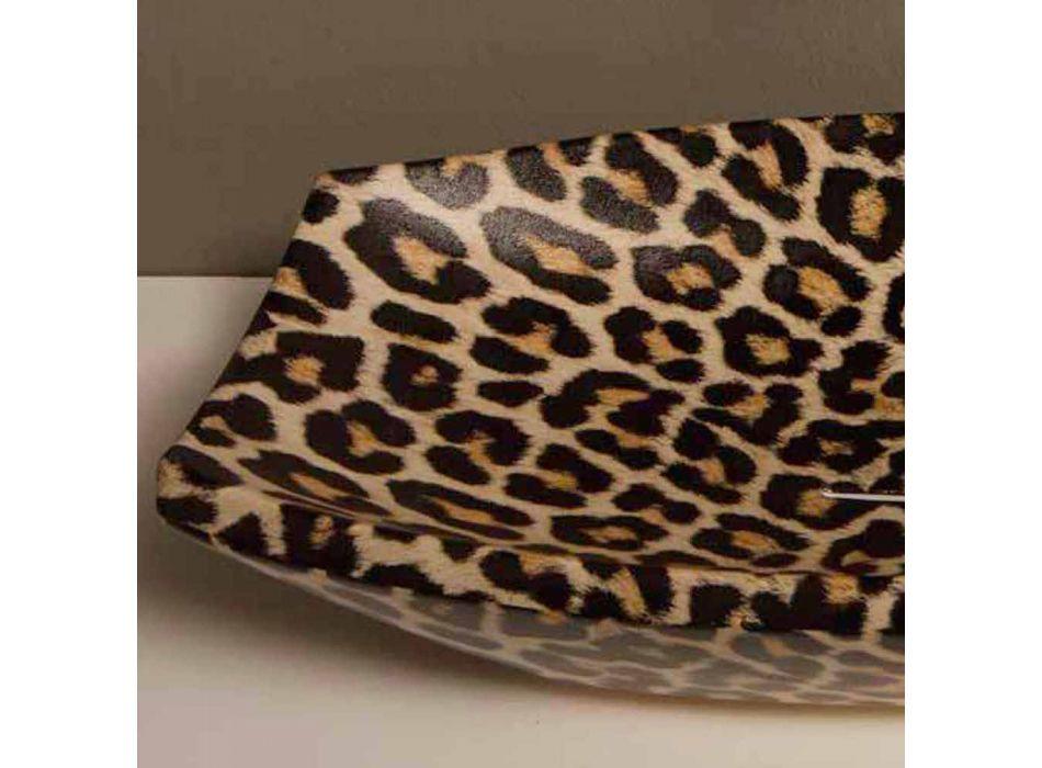 Cheetah ceramic countertop washbasin made in Italy by Laura
