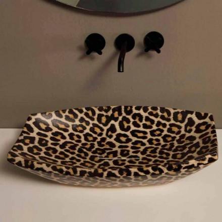 Cheetah ceramic countertop sink Laura, modern design made in Italy
