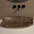 Cheetah ceramic countertop sink Laura, modern design made in Italy