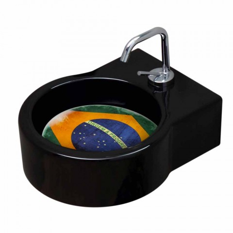 Free-standing black ceramic washbasin / suspension made in Italy Tor