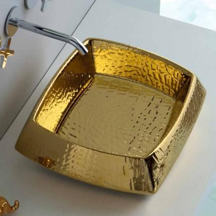 Modern countertop golden ceramic washbasin made in Italy Simon