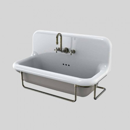 Rectangular ceramic washbasin vintage with suspended Felipe metal base