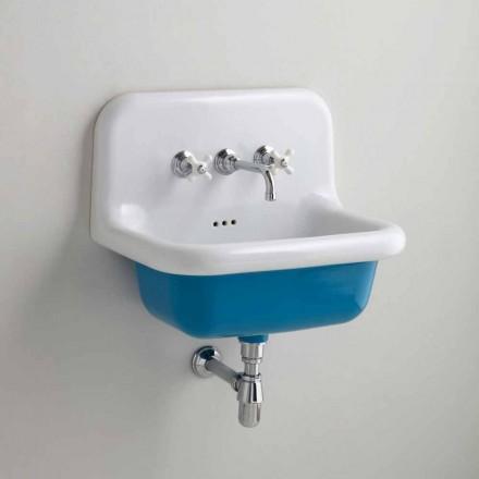 Rectangular ceramic sink with colored bottom, Jordan