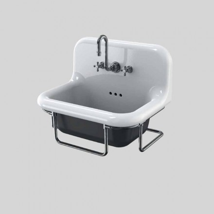 Vintage rectangular wall-mounted ceramic washbasin with suspended structure,Jim