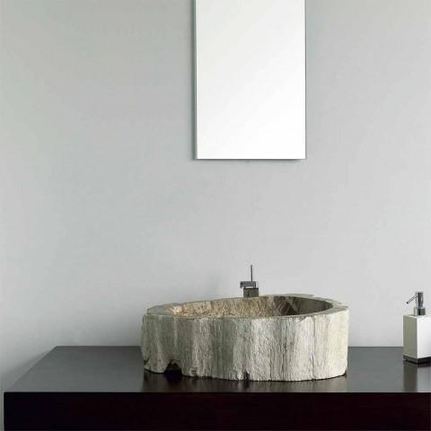 Fossil wood countertop washbasin Goa