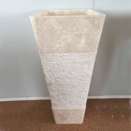 Natural white stone freestanding sink Robin, unique  piece of design