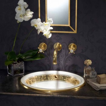 Baroque built-in sink in fire clay and gold made in Italy, Otis
