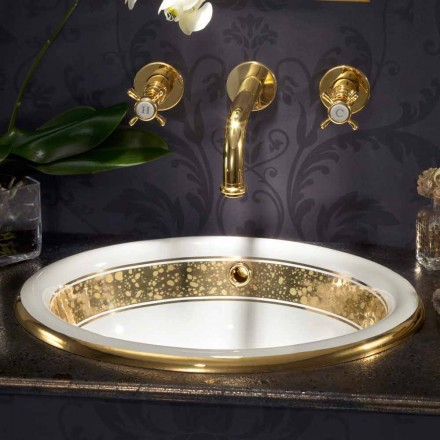 Design baroque built-in sink in fire clay and 24k gold, Otis