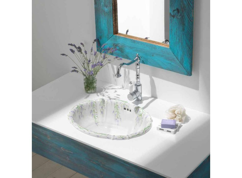 Recessed washbasin in classic porcelain handmade in Italy, Santiago