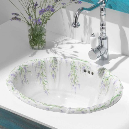Classic built-in sink in porcelain handmade in Italy, Santiago