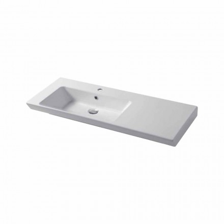 Modern sink wall-mounted and left wall insert in ceramic Maida