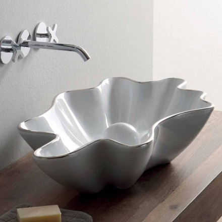 Modern countertop washbasin in white ceramic made in Italy Rayan