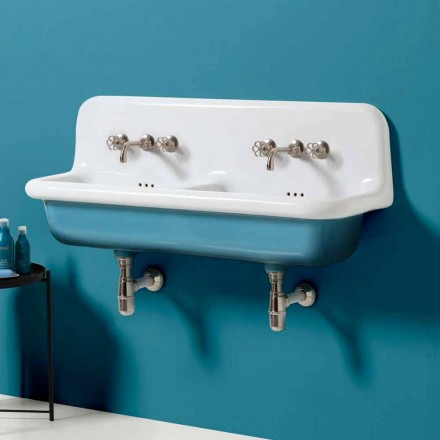Jack wall-mounted vintage double bowl washbasin in ceramic