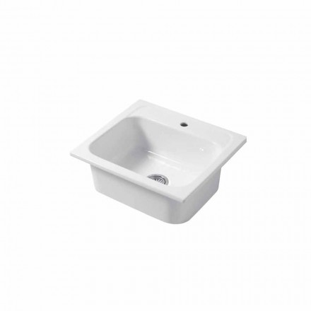Single hole countertop and wall insert sink in colored ceramic Capri