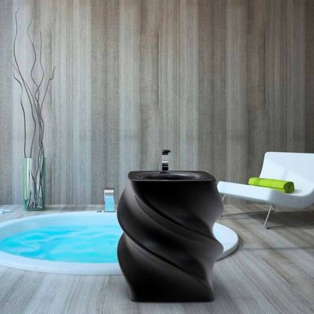Black free-standing wash basin, modern design, Twist
