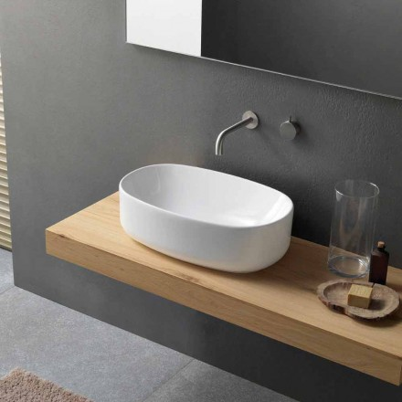 Oval Modern White Ceramic Countertop Washbasin - Ventori1