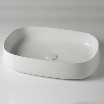 Oval Countertop Washbasin L 60 cm in Modern Ceramic Made in Italy - Cordino