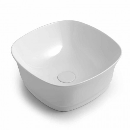 Square Countertop Design Washbasin in Colored Ceramic Made in Italy - Zarro