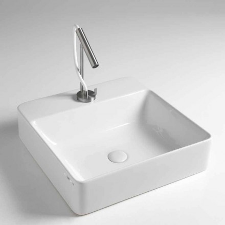 Square Ceramic Countertop Washbasin Made in Italy - Rotolino