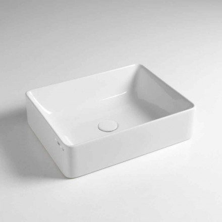 Rectangular Countertop Washbasin L 50 cm in Ceramic Made in Italy - Rotolino