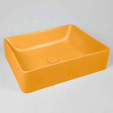 Rectangular Countertop Washbasin L 60 cm in Ceramic Made in Italy - Rotolino