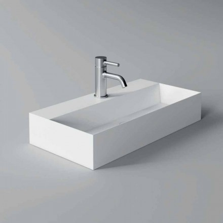 Modern Rectangular Countertop or Suspended Washbasin 60x30 cm in Ceramic - Act