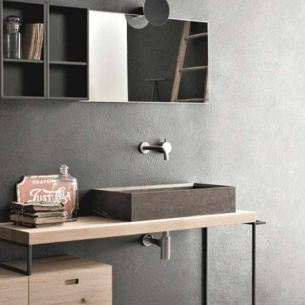 Rectangular and Modern Countertop Washbasin in Design Stone - Farartlav3