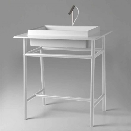Rectangular Ceramic Washbasin with Metal Structure Made in Italy - Voltino
