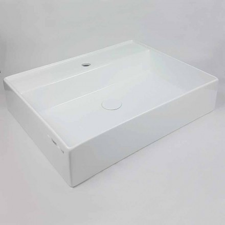 Rectangular Countertop Washbasin L 60 cm in Ceramic Made in Italy - Piacione