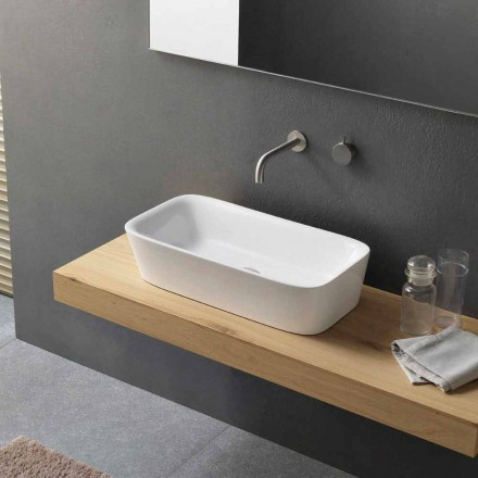 Modern Rectangular Countertop Washbasin in Ceramic Design - Lipperialav1