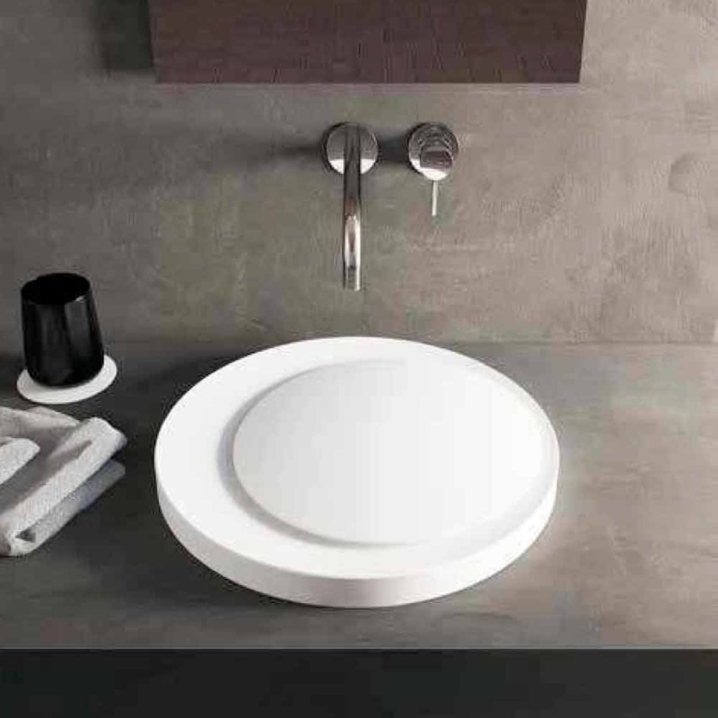 Round design freestanding bathroom washbasin produced in Italy Crema