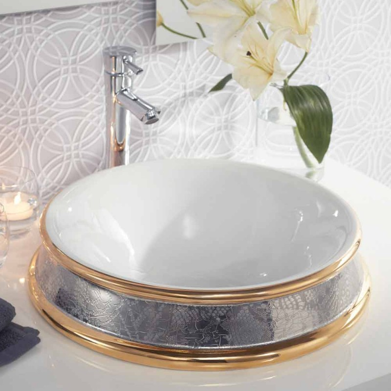 Gold Italy Platinum: Semirecessed Sink In Gold And Platinum Fire Clay Made In
