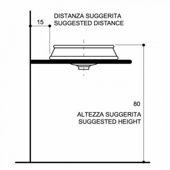 Design semi-recessed sink in fire clay produced in Italy, Manilo