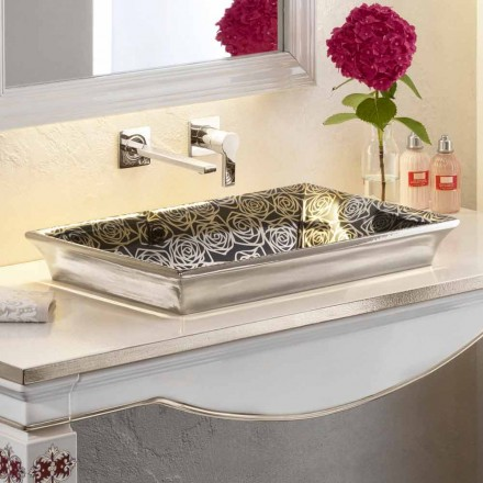 Modern semi-recessed sink in fire clay and 24 carat gold, Guido