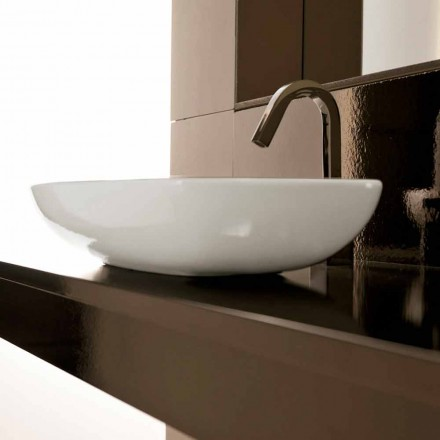 Sit-on sink in white fire clay handmade in Italy, Azelio