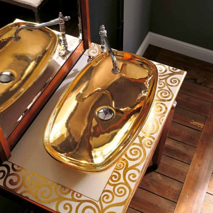 Modern sit-on sink in 24 carat gold fire clay made in Italy, Azelio