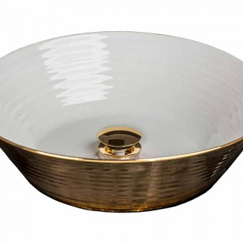 Round top washbasin in porcelain and gold made in Italy, Felice