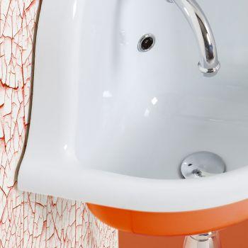 Angular Wall-hung Washbasin in White and Colored Ceramic 42 cm - Angelino