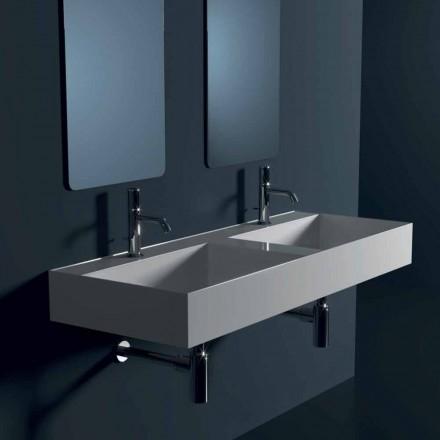 Modern ceramic suspended washbasin Sun 120x45 cm made in Italy