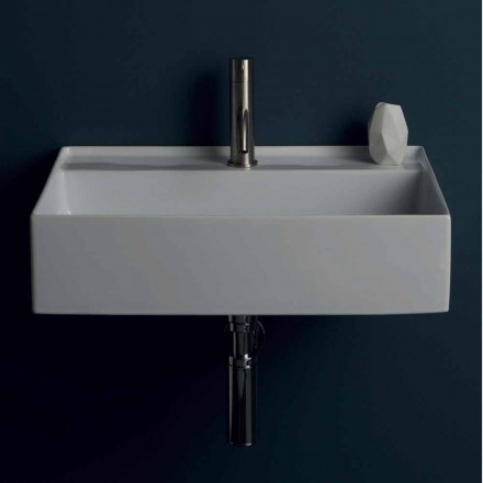 Modern ceramic suspended washbasin Sun 60x45 cm, made in Italy
