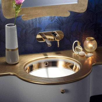 Baroque undermount sink in fire clay and gold made in Italy, Aegean
