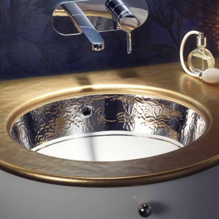 Baroque undertop sink in fire clay and platinum made in Italy, Egeo