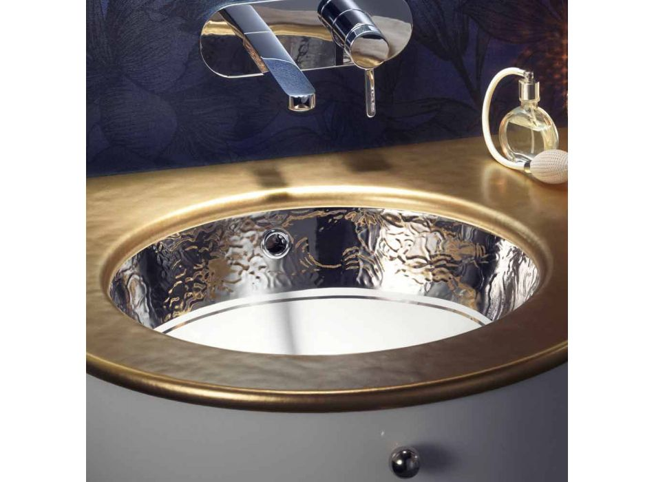 Baroque undercounter washbasin in fire clay and platinum made in Italy, Aegean