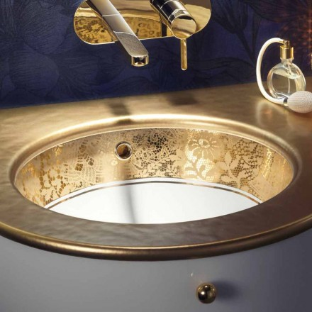 Undertop sink in fire clay and 24 carat gold handmade in Italy, Egeo