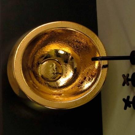 Round gold ceramic countertop wash basin Elisa, made in Italy