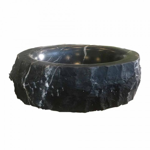 Round Countertop Washbasin in Raw Black Marquinia Marble Made in Italy - Bernini