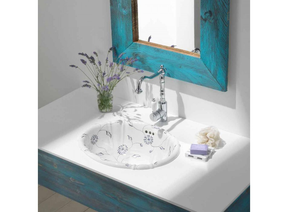 Round recessed washbasin in classic porcelain made in Italy, Santiago