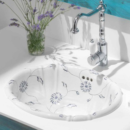 Classic circular built-in sink in porcelain made in Italy, Santiago